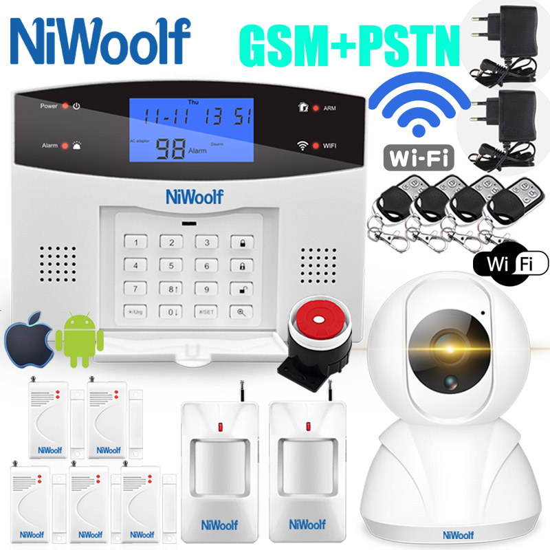 Wifi PSTN GSM Alarm System 433 Wireless Wired Detectors Alarm Smart Home Relay Output APP English/Russian/Spanish/France/Italian