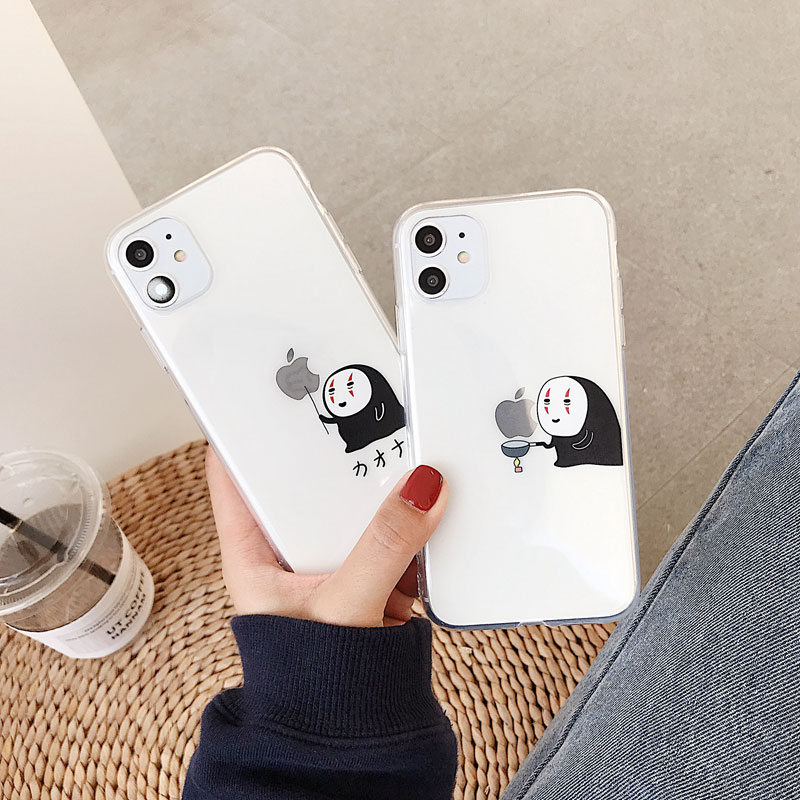 Cartoon Funny Faceless Man Phone Case For Iphone 11 Pro X XS Max XR 8 7 Plus Anime No Face Man Soft TPU Back Cover Coque