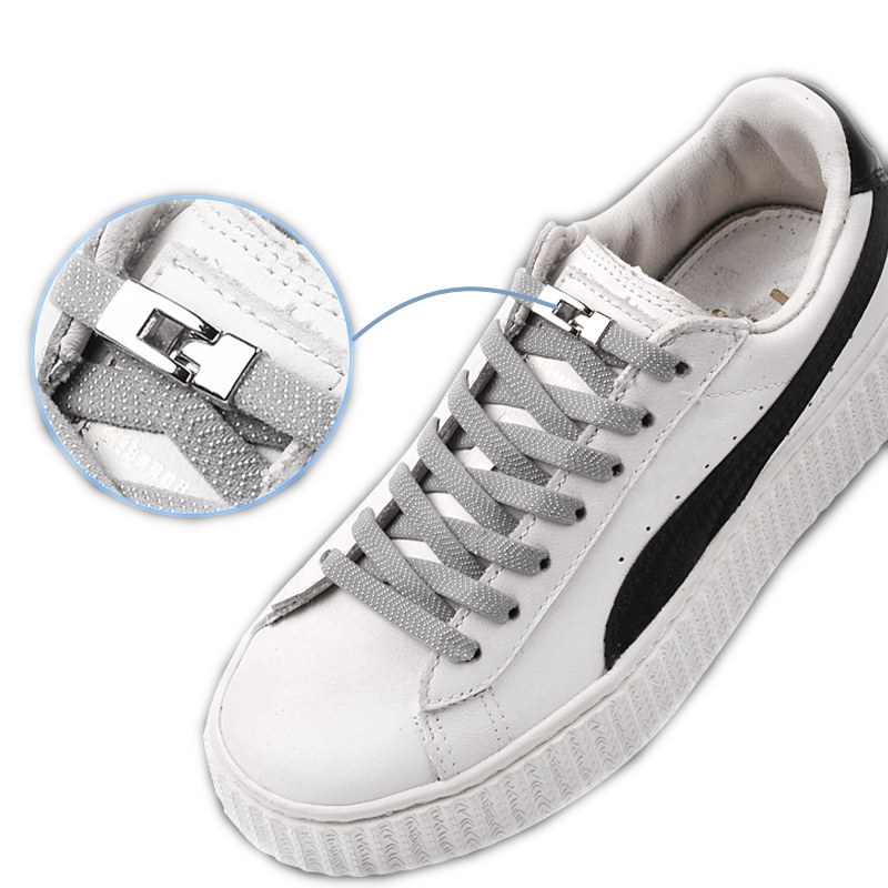 Cross Buckle Lock No Tie Shoelaces High Quality Metal Flat Elastic Shoelace Child And Adult Leisure Sneakers Lazy Laces 1 Pair
