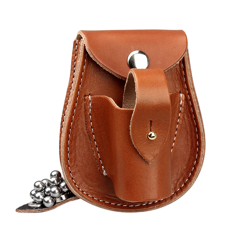 New Style Slingshot Bag Cowhide Plant Melted Thick Handmade Steel Ball Bag One-piece Hanging Wallet Genuine Leather Slingshot Ca