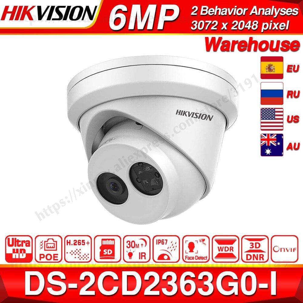 Hikvision Original 6MP Camera DS-2CD2363G0-I H.265 Face Detect Network IP Camera POE CCTV Security Camera SD Card Slot