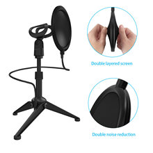 Portable Desktop Microphone Tripod Stand Bracket with Flexible Pop Filter 2pcs Mic Holders for Live Online Chatting Singing(China)