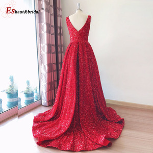 Image 5 - 두바이 럭셔리 이브닝 드레스 2020 민소매 딥 브이 섹시 스팽글 높은 낮은 비대칭 공식 파티 가운