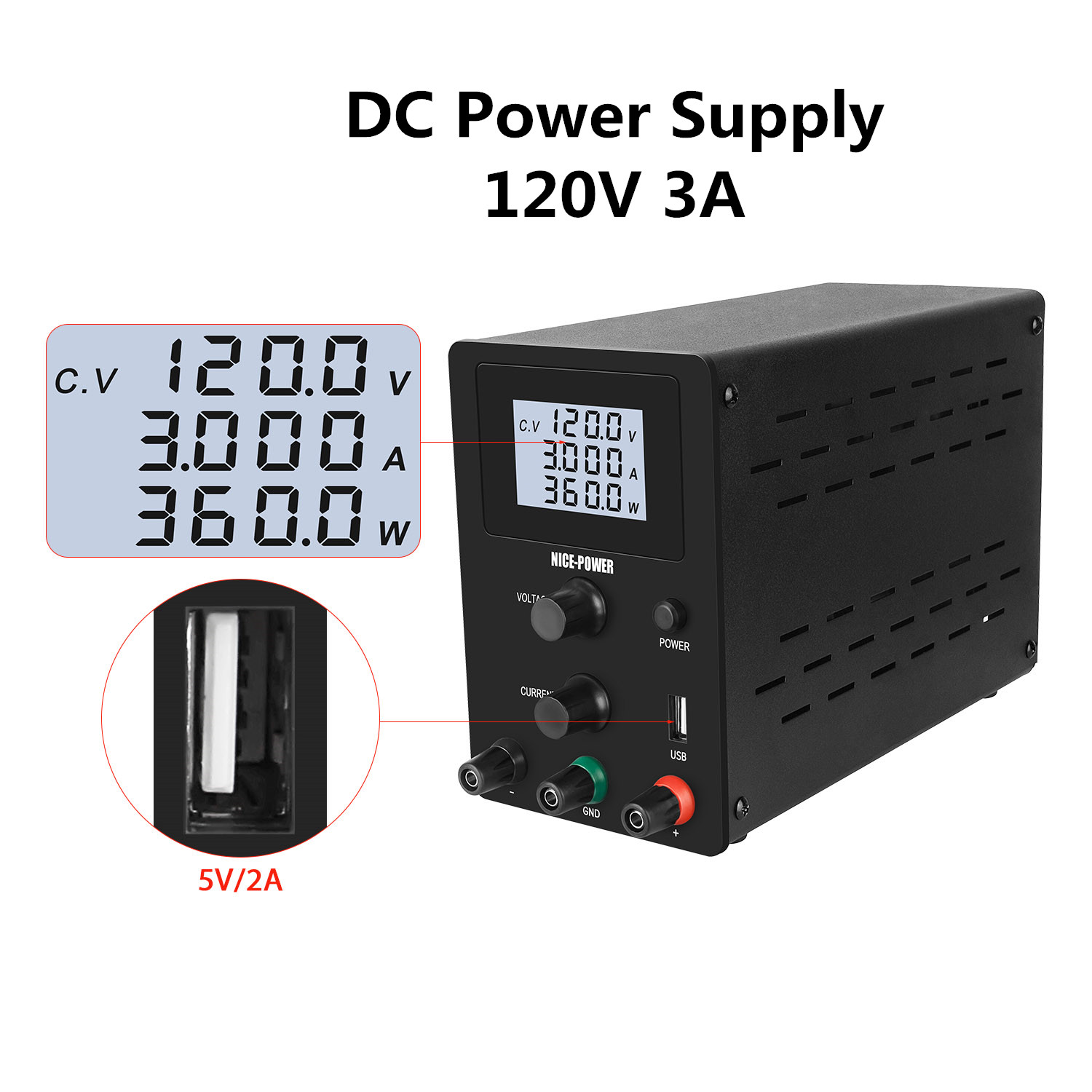 120V 3A Adjustable DC Lab Power Supply With Regulator Switching Bench Power Source Digital Voltage Regulated