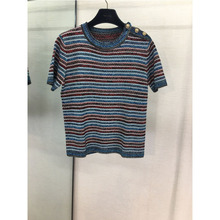 COCO Fashion Clothing Women Color Striped Knit Tops Short Sleeve T-Shirt Runway Temperament Joker rib knit striped t shirt