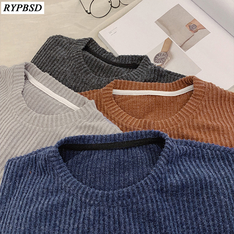 Autumn 2019 New Wool Sweater Men Korean Fashion Trend Loose Round Neck Long Sleeve Warm Brand Knit Men Sweater Pullover M-XL