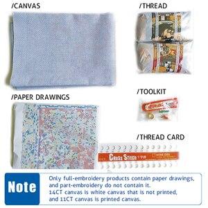 Image 5 - クロスステッチキット刺繍裁縫セット11CT水溶性キャンバスパターン14CT海辺風景海辺Town NCMS081