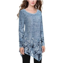 Fashion Women Long Sleeve T-shirt Casual Irregular Hem Top Autumn O-Neck Floral Print Tops