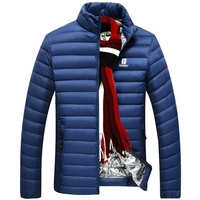 Winter Parka Men Goose Down Jacket Stand Collar Ultra Light Men's Down jacket Lightweight Shorts Coats Male Windbreaker 4XL Blue