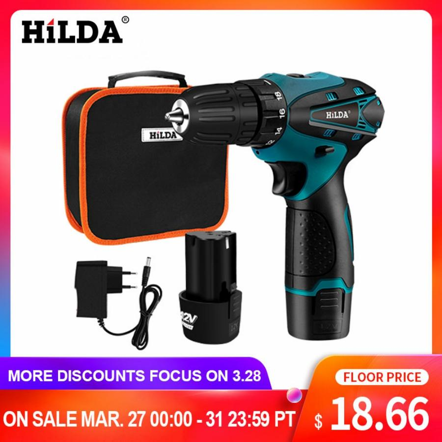 HILDA Electric Drill Cordless Screwdriver Lithium Battery  Mini Drill Cordless Screwdriver Power Tools Cordless Drill