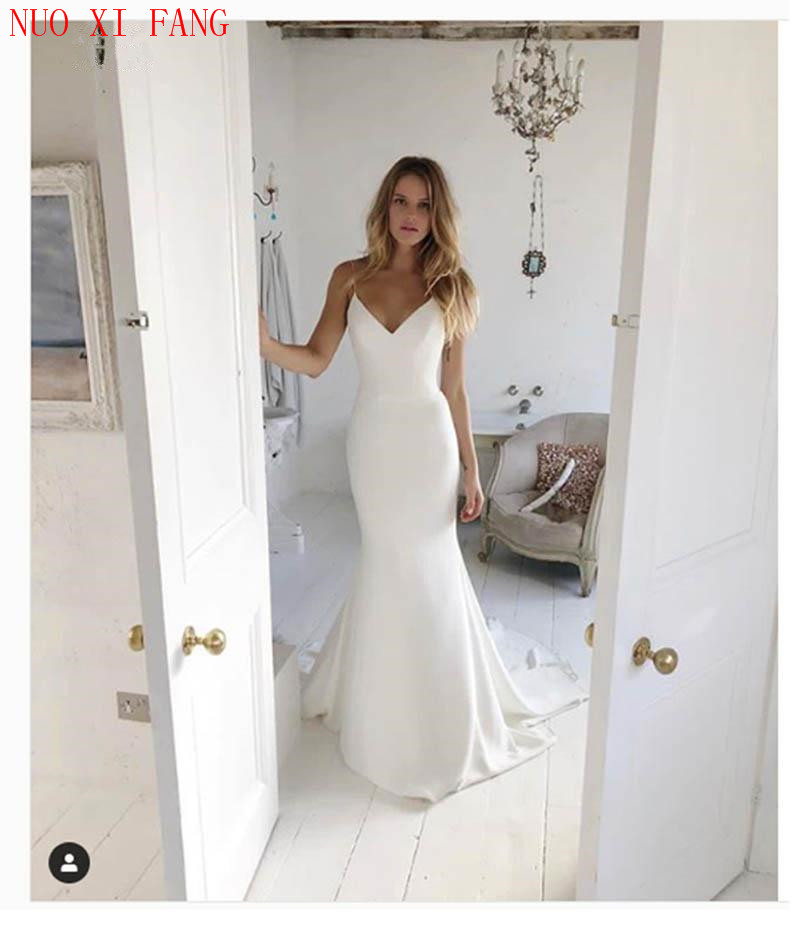 NUOXIFANG Simple Mermaid Wedding Dress Spaghetti Straps 2020 Bride Gown Custom Made Sexy White Ivory Plus Size Robe De Mariee