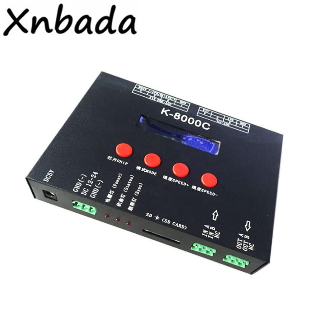 Contrôleur de Pixel de K-8000C de carte SD DMX/SPI Programmable de LED hors ligne DC5-24V à la lumière de tache de LED polychrome de rvb WS2815