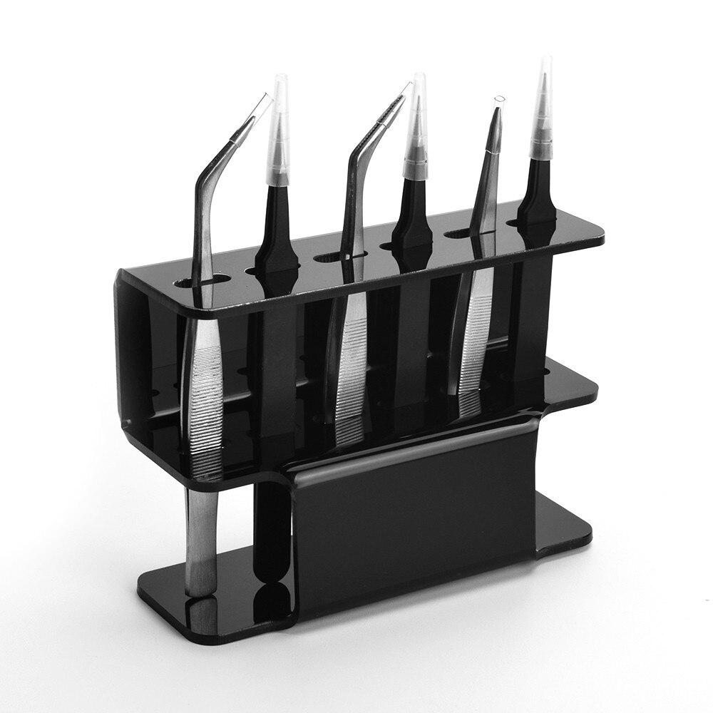 1PC False Eyelashes Grafting Tweezers Rack Display Stand 6 Holes Acrylic Eyelash Extension Tweezer Storage Rack