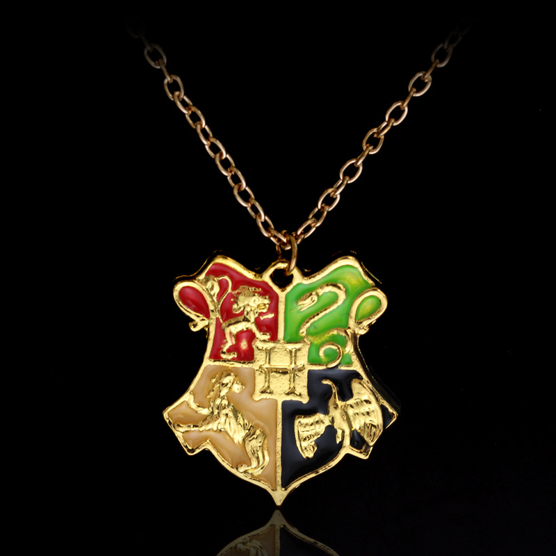 ZXMJ Harried <font><b>Necklace</b></font> Pendant <font><b>Hogwarts</b></font> Gryffindor Hufflepuff Ravenclaw Slytherin Potters Magic School Gold Long chain Jewelry image