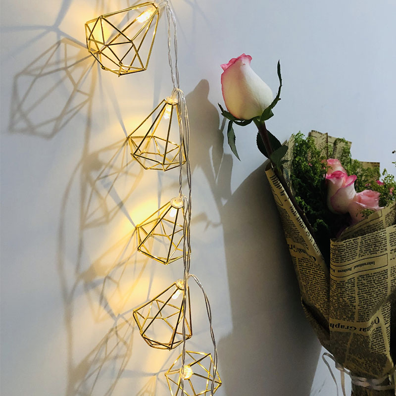 Fairy Lights 3M 20 LED Rose Gold Copper Wire LED String Light Iron Geometric Hexagons For Wedding Home Decor