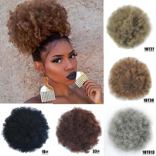 African Afro Bun Short Kinky Curly Wrap Drawstring Puff Ponytail Extension Synthetic Hair Large Round