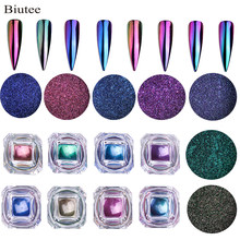 Biutee 8 Pcs/Kotak Bubuk Logam Chrome Kuku Bubuk Neon Magic Cermin Bubuk Hologram Unicorn Bunglon Aurora Berwarna-warni Debu(China)