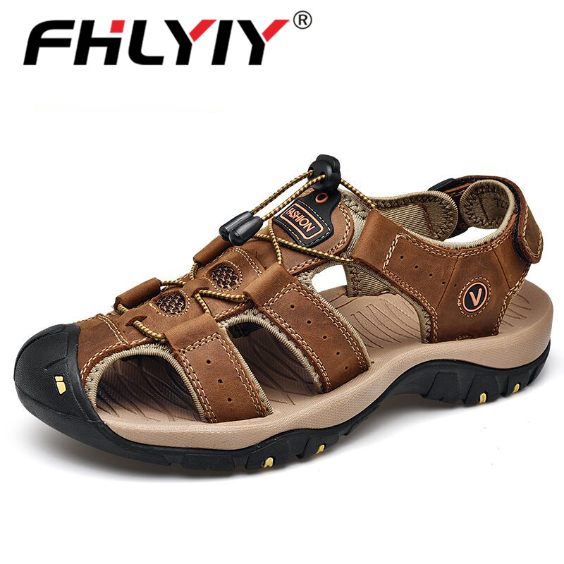 Fhlyiy Brand 2020 New Male Shoes Genuine Leather Men Sandals Summer Men Shoes Beach Sandals Man Fashion Outdoor Casual Sneakers