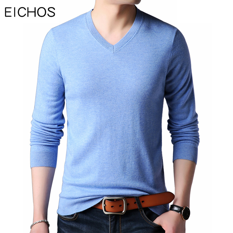EICHOS New Brand Men Pullover V-Neck Knitted Solid Male Sweater  Autumn Winter 100% Wool Cashmere Casual Mens Sweaters 3XL
