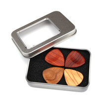 Wooden Guitar Pick Plectrum Storage Box for Picks Hold Case with 4pcs Different Wood Picks Gift Guitar Accessories(China)