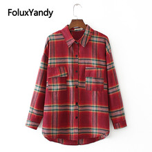 Pockets Casual Shirts Plaid Blouses Women Plus Size Turn-down Collar Autumn Spring Long Sleeve Blouse Shirt KKFY3915 nicemix 2019 jeans painting blouses female long sleeve turn down collar shirts spring autumn casual loose women blouse shirts