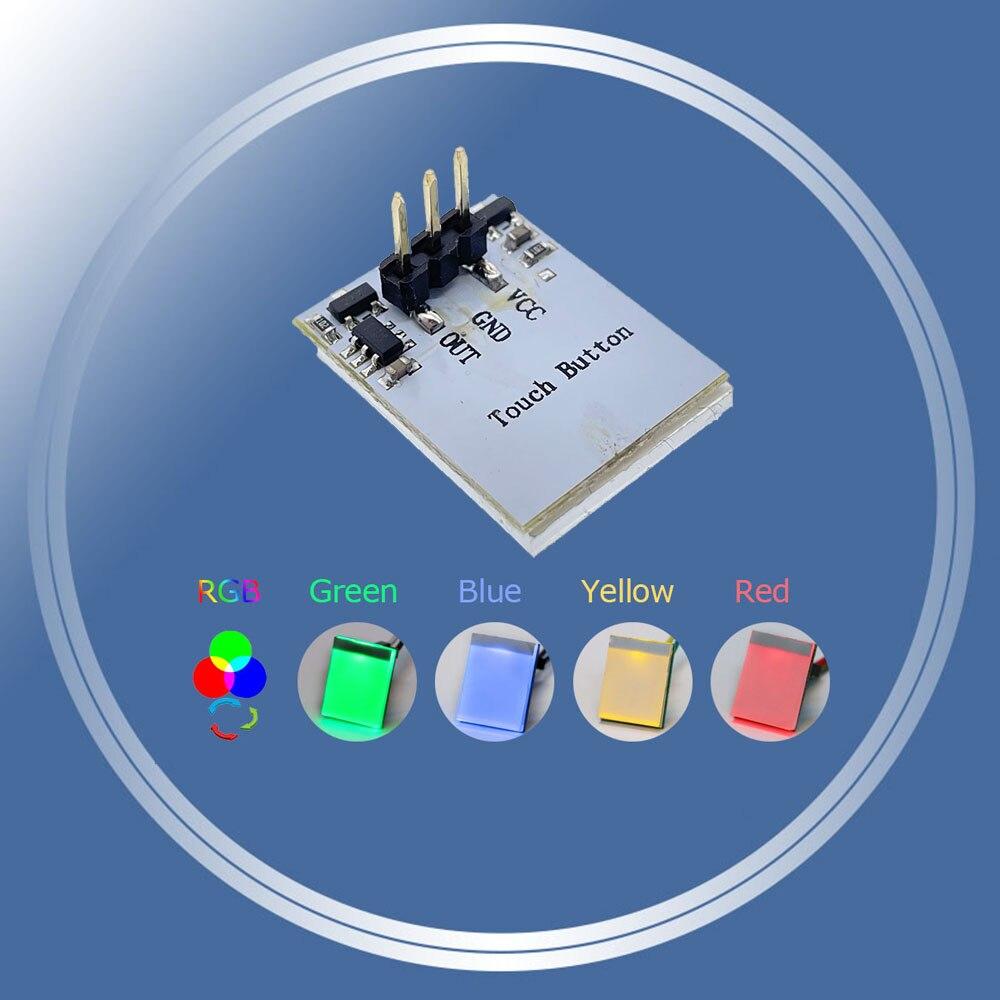 Зеленая, синяя, красная и желтая цветная RGB емкостная сенсорная кнопка переключения, модуль от 2,7 в до 6 В, защита от помех, яркая фотография