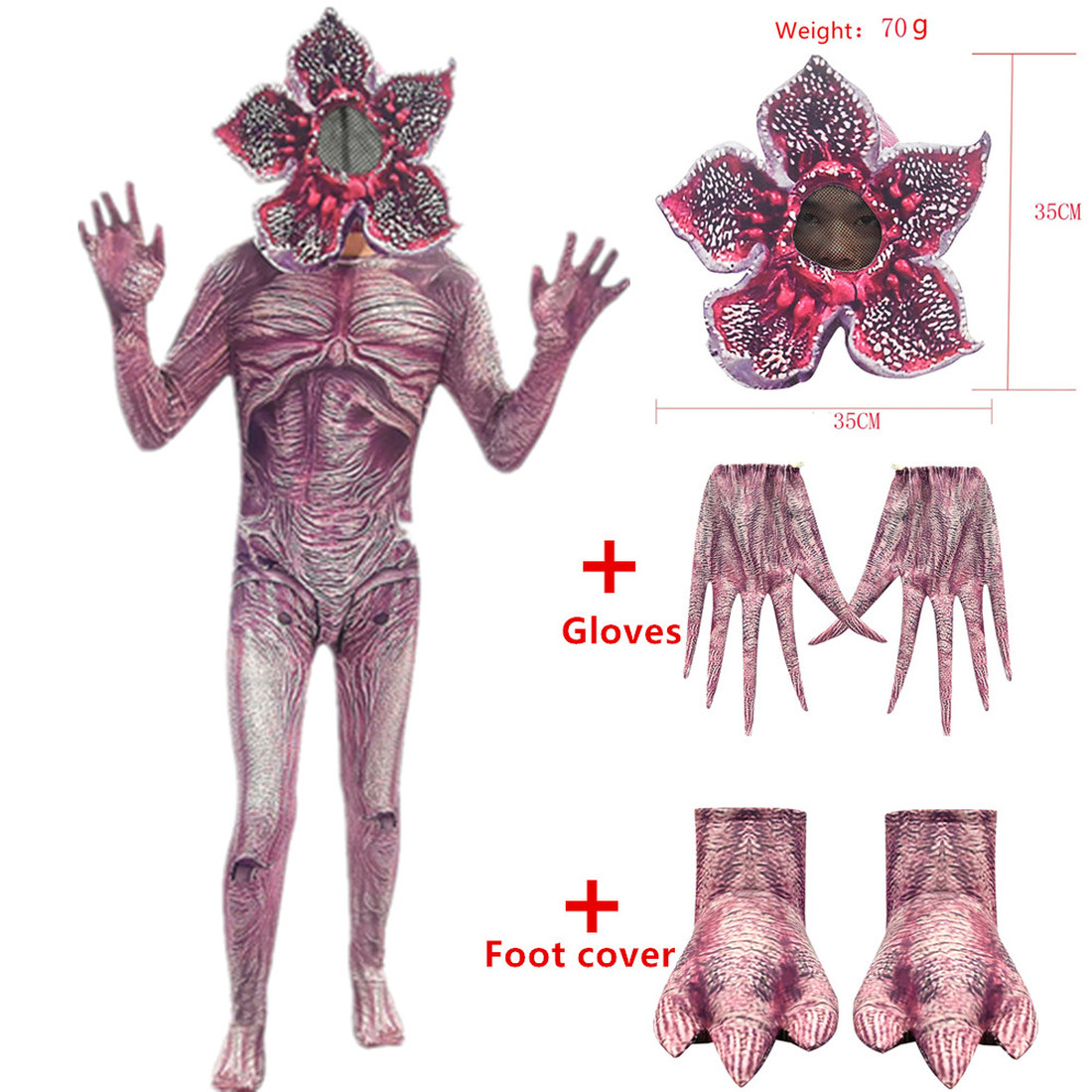 Halloween Costumes For Kids Stranger Things Cosplay Costume Child Horror Jumpsuits Scarry Zombie Demogorgon Cosplay Clothes 4pcs