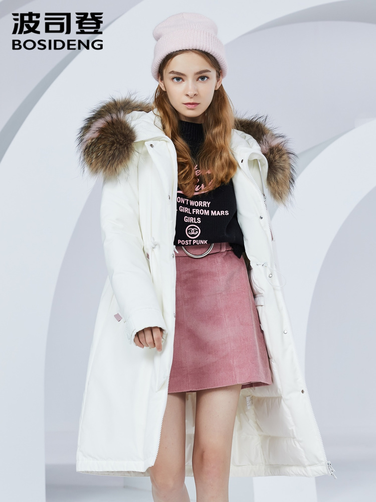 BOSIDENG Real fur  collar Down jacket women's medium length fashion trend coat women's thick B80141136