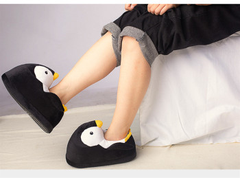 Kids Winter Home Cotton Shoes Soft Non-slip Fluffy Slippers Cute Cartoon Plush Slippers women Animals Penguin Indoor Shoes 5
