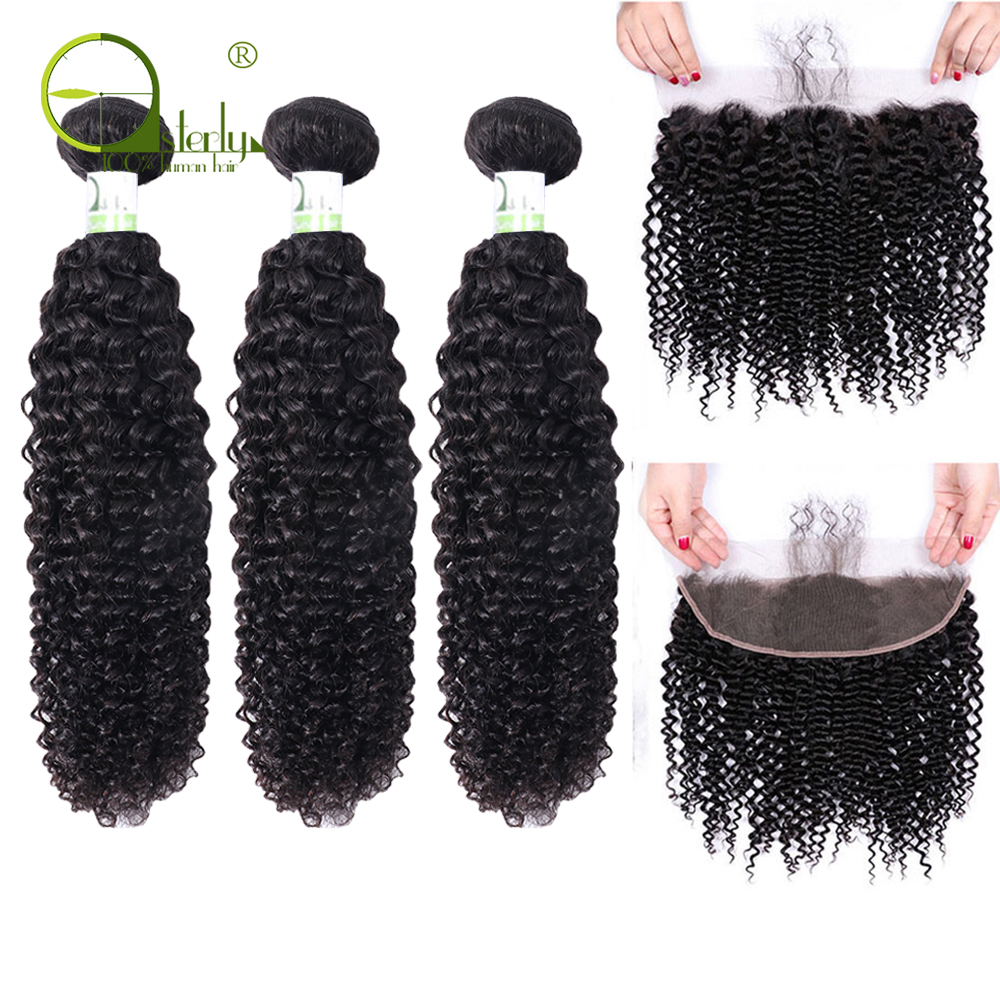 Sterly Kinky Curly Bundles With Frontal Remy Human Hair Bundles With Closure Brazilian Hair Weave Bundles Innrech Market.com