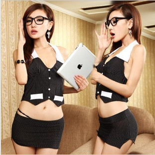 Sexy Lingerie Women Sexy Secretary Stewardess Role-playing Game Uniform Suit Bar Temptation DS Costume Babydoll Erotic Underwear