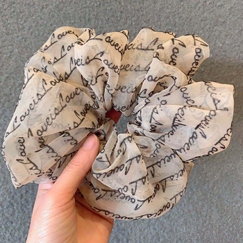 Letter Oversized Scrunchies Big Rubber Hair Ties Elastic Hair Bands Girs Ponytail Holder Scrunchie Women Hair Accessories bowknot floral hair scrunchies rope women ponytail holder bows elastic hair bands crunchy hair ties scrunchie hair accessories