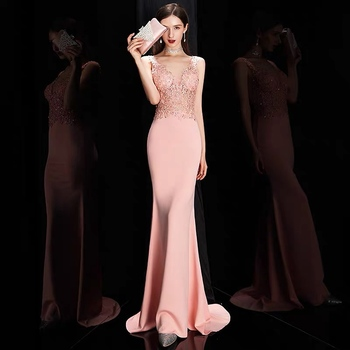 Pink Burdungy Long Mermaid Bridesmaid Dresses Sleeveless Chiffon Lace Beaded Wedding Party Dress Maid Of Honor Prom Formal Gowns