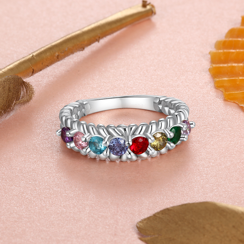 Personalized S925 Silver Mothers Rings With 8 Birthstones Custom Fashion Rings For Women Jewelry Gifts