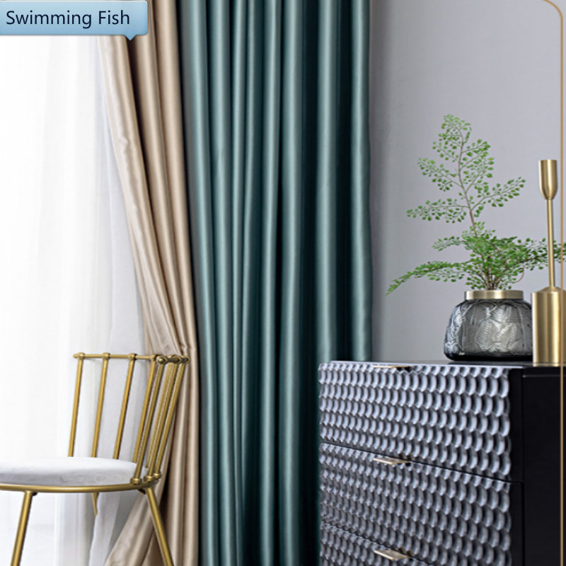 Luxury Silk Solid Blackout Curtains Drape For Bedroom 2 Colors Combined Window Treatment Curtain Blind For Living Room Hotel