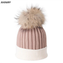 SUOGRY New Fashion Skullies Beanies Winter Hats For Men Women Outdoor Hair Ball Hat Stripe Knitted Cap