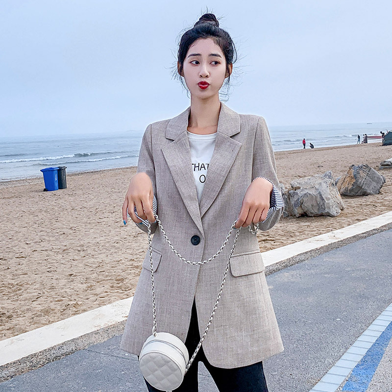 2020 Autumn Grils Blazer Preppy Style Solid Long Sleeve Women Jacket Slim Fit Striped Cuff Single Button Back Split Tunic Coat