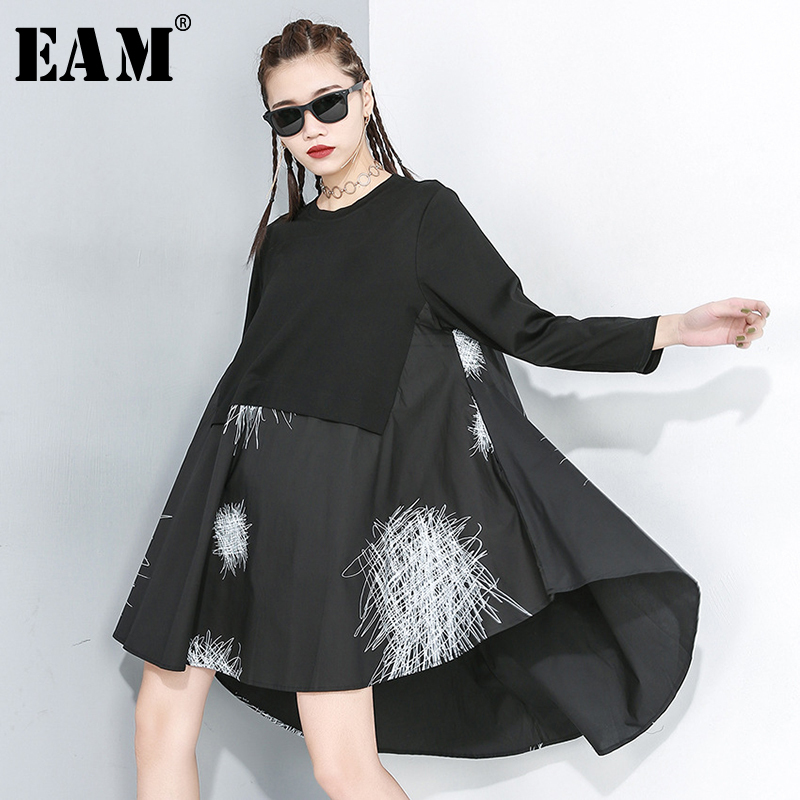 [EAM] Women Pattern Print Asymmetrical Big Size Dress New Round Neck Long Sleeve Loose Fit Fashion Tide Spring Autumn 2020 1R171