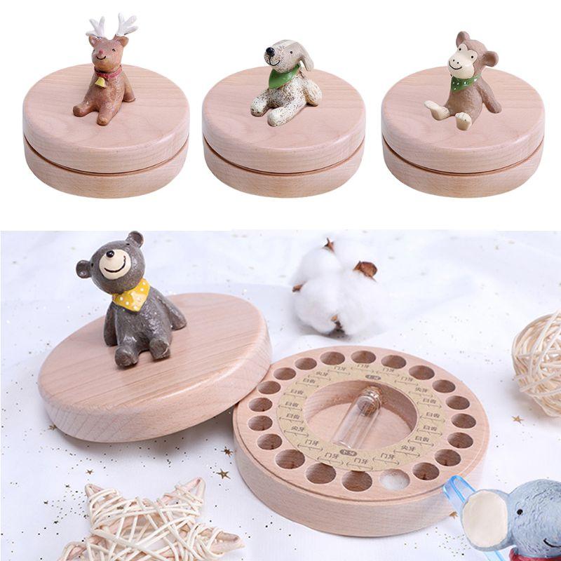 Beech Baby Tooth Storage Box Milk Teeth Memory Keeper Case Organizer Kids Keepsake Gift Home Decorations