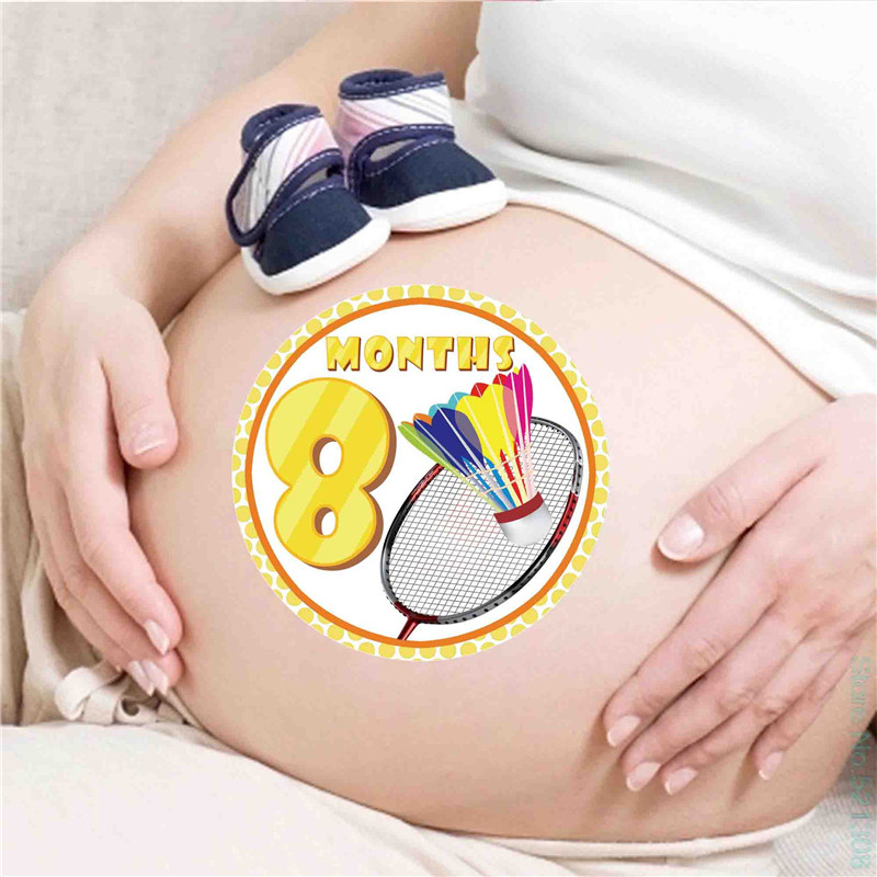 12 Pcs/Set Month Sticker Baby Photography Newborn Commemorative Memorial Stickers Milestone Monthly Pregnant Women Belly Photos