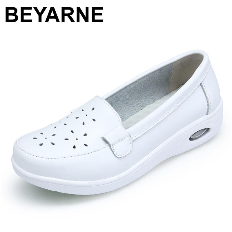 BEYARNE Four Seasons Woman Pure Black And White Soft Platform Full Sole Nurse Air Cushion Shoes Women Genuine ShoesL007