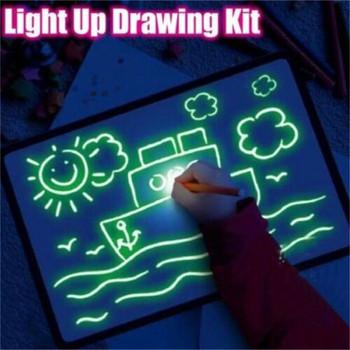 1PC A5 podświetlana dioda LED tablica do pisania Graffiti tablica do pisania magiczny rysunek z interesującymi zabawkami edukacyjnymi wyróżnienia tanie i dobre opinie Z tworzywa sztucznego YXL356 Unisex Zestaw zabawkowy do rysowania 5-7 lat