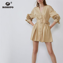 ROHOPO Long Sleeve Khaki Cotton Belted Solid Dress Buttons Fly Tie Cuff Pleated Hem Tunic Preppy Girl Mini Vestido #9332 ruffle cuff and hem self belted wrap dress