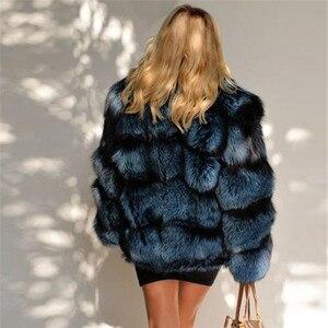 Image 5 - 2020 zimowa damska kurtka z prawdziwego futra lisów ze stójką z prawdziwej skóry naturalne srebrne futra lisa kurtka wysokiej jakości futrzany płaszcz