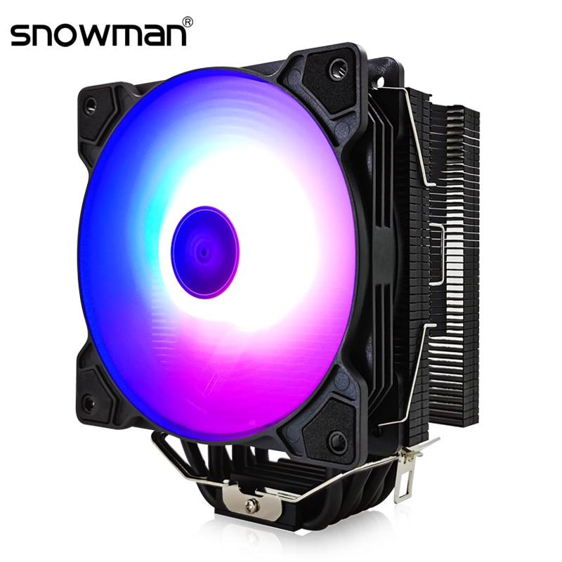 Boneco de neve 6 tubos calor cpu cooler argb 120mm pwm 4 pinos pc radiador silencioso para intel lga 2011 1150 1151 1155 amd am4 cpu ventilador de refrigeração