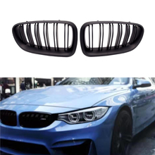 цена на 2 Pcs Fit for BMW F10 F11 F18 5 Series M5 Gloss Car Kidney Grill Racing Grille M Color Double Line Gloss/Matte Black