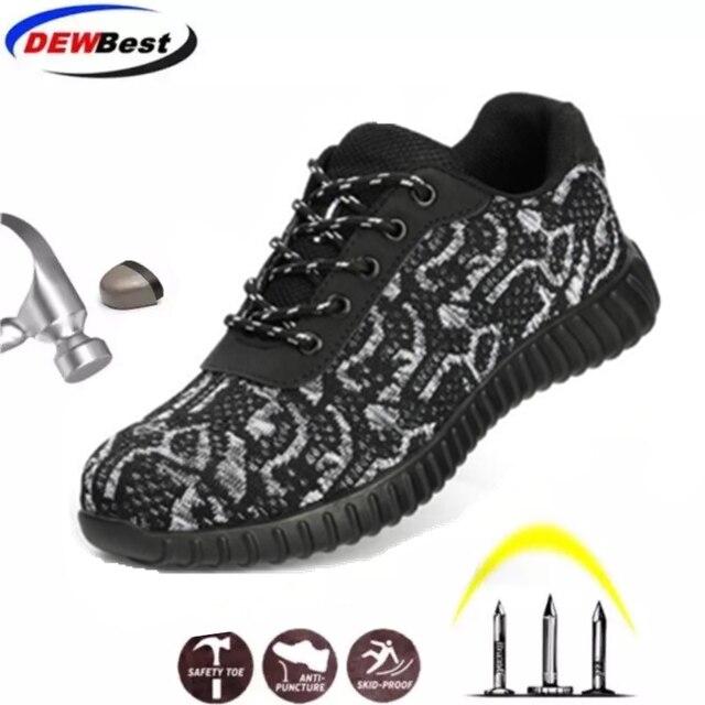 الصلب أحذية سلامة بفتحة لأصبع القدم الرجال النساء تنفس شبكة الصناعية والبناء ثقب برهان أحذية عمل واقية