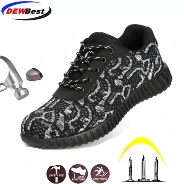 Steel Toe Safety Shoes Men Women Breathable Mesh Industrial & Construction Puncture Proof Work Shoes Protective Footwear