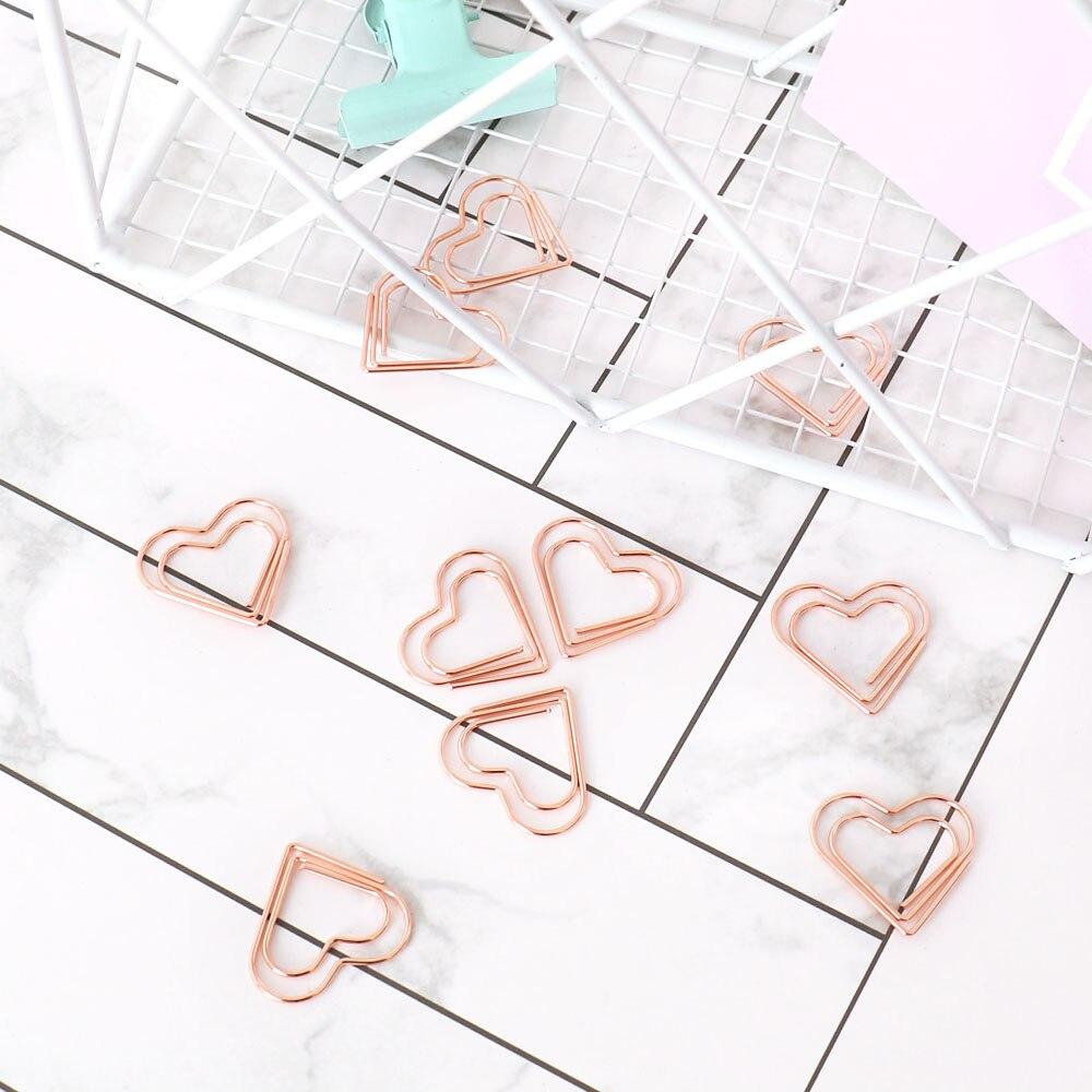 TUTU 30pcs/set heart Bookmark Metal Paper Clip Decor Rose Gold Colorfur Book Note Decoration Binder Clip Stationery H0405 5