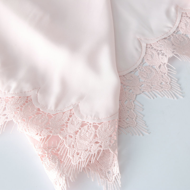Image 5 - 2019 Matt Satin Lace Robe with Trim Gown Bridal Wedding Bride Robes Bridesmaid Kimono Robe Plus Size Women Bathrobe Dress Gown-in Robes from Underwear & Sleepwears